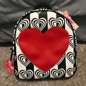 Betsey Johnson Striped Red Heart Backpack